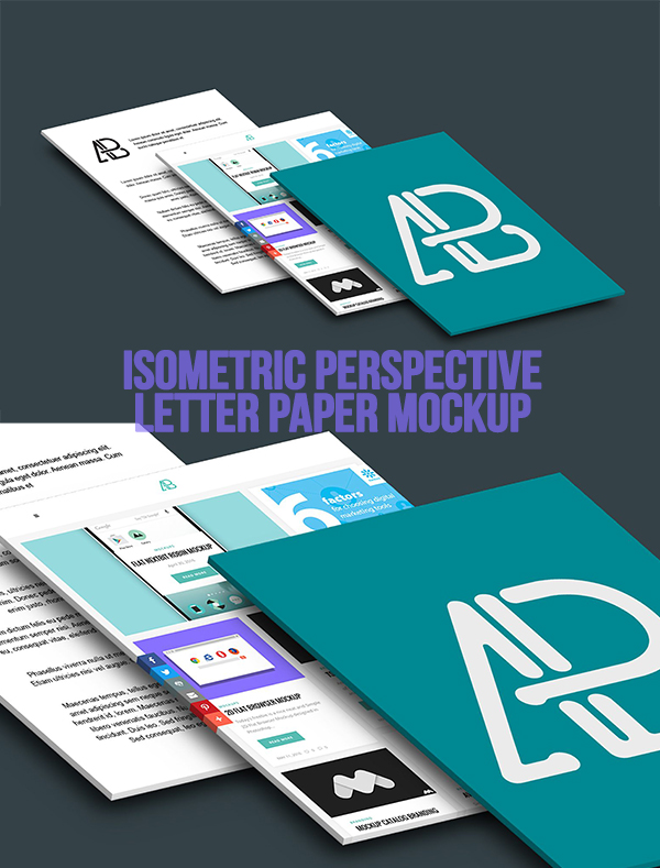 08 Isometric Perspective Letter Paper Mockup