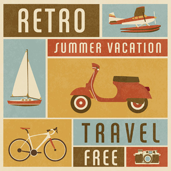 09 Free Retro Summer Travel Vector Poster