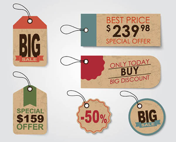 A set of tags in a retro style