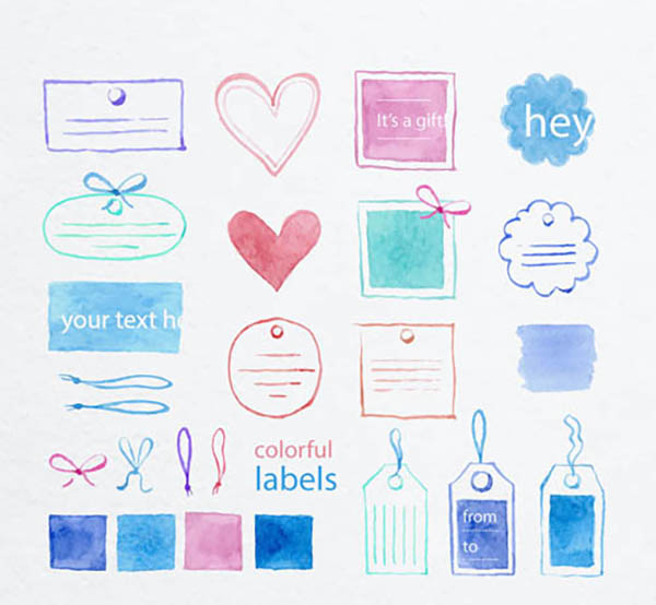 12 Free Colorful Labels Vector