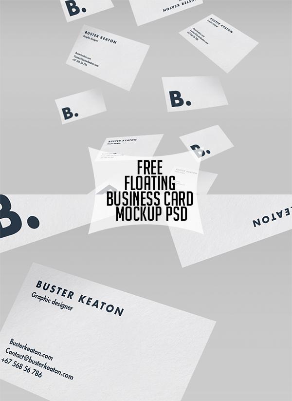 12 Free Floating Business Card Mockup PSD