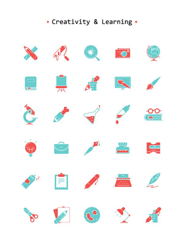 16 Free Art & Learning Icon Set