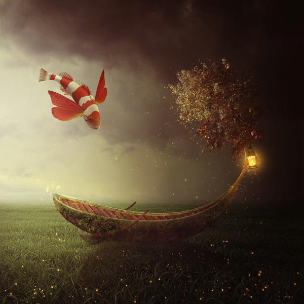 26. Create a Fantasy Boat Scene Photo Manipulation