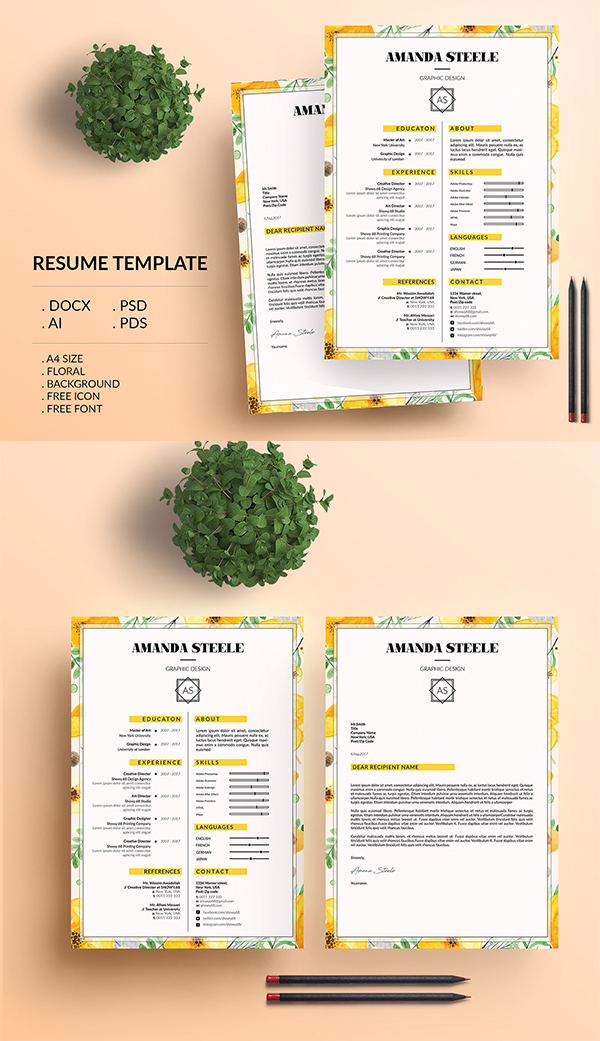 Floral Resume Template / CV Template/ Letterhead