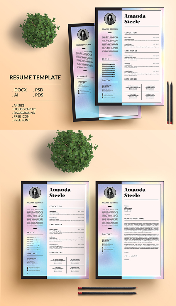 Holographic Resume Template / CV Template/ Letterhead
